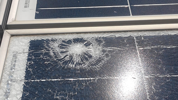 Panel damage due to typhoons, lightning strikes, and snow cover